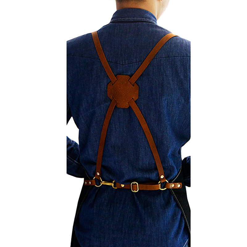Personalized Logo Denim Apron With Genuine leather strap Pockets For Barista Barber Handmade Apron 2016 New Wholesale Custom(China (Mainland))