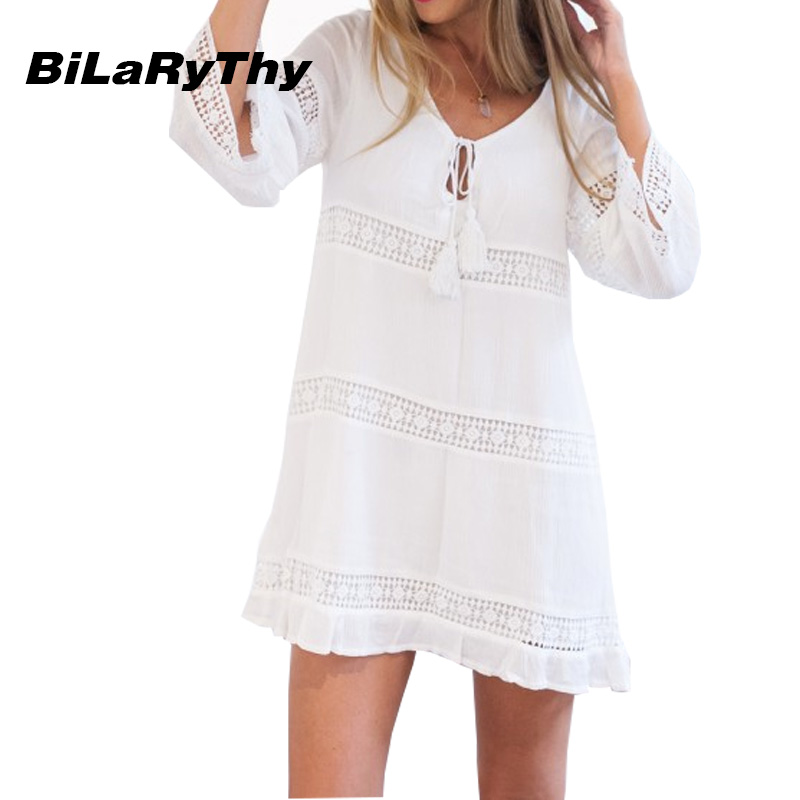 Spring Autumn Women White Mini Casual Dress Sexy O Neck Three Quarter Sleeve Lace Spicing Loose Beach Dresses(China (Mainland))