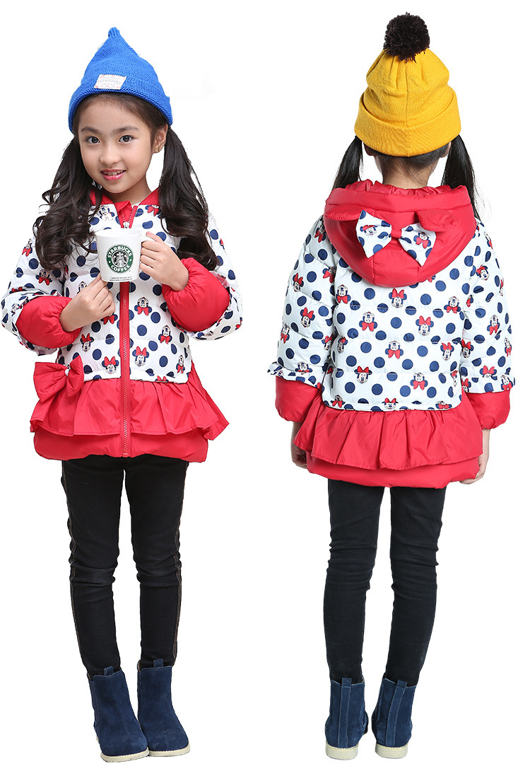 Girls Hooded Jackets Cartoon Coats Girl Winter Outerwear Kids Apparels children outerwear cotton winter Hooded coats down jacket(China (Mainland))