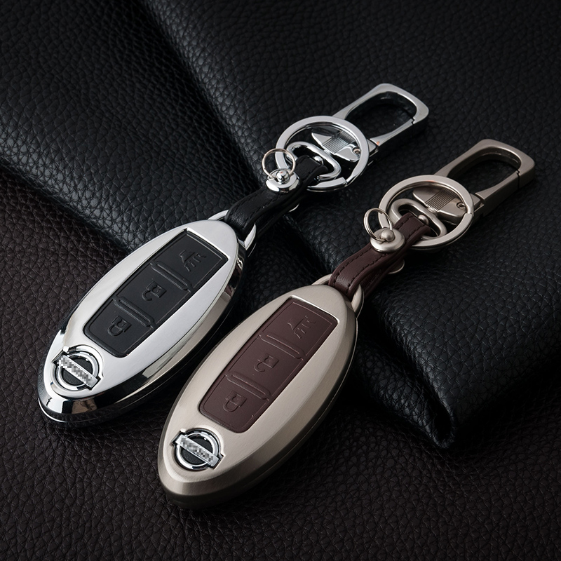 Aluminum+Leather Car Styling Key Cover Case For Nissan Qashqai X-Trail Tiida Teana Pathfinder Juke Almera Note Almera Primera(China (Mainland))