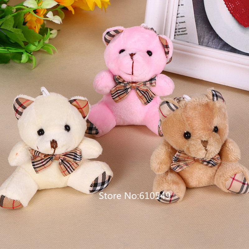 Free shipping 24pcs/lot Sitting 9cm Plaid Teddy Bear Plush Pendant Soft Toys For Bouquets mini Plaid Bear Toys For Keychain(China (Mainland))