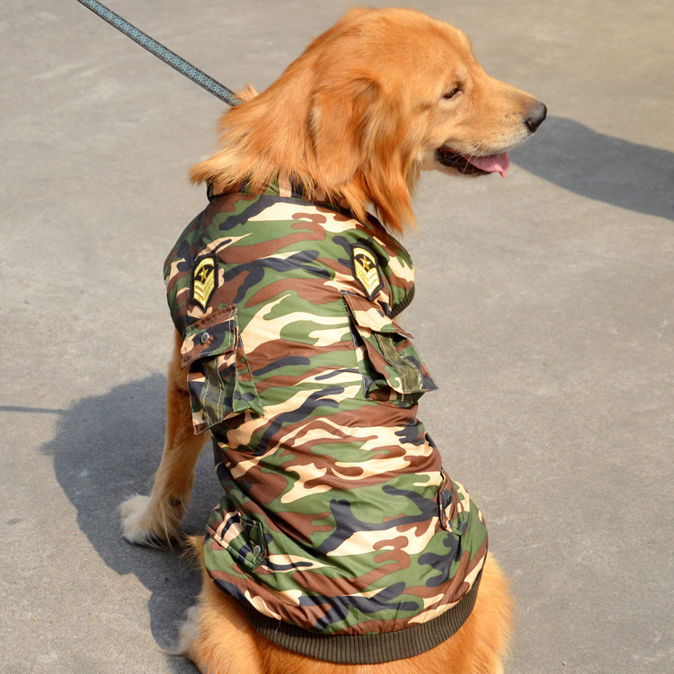 The New 2015 Pet Winter Clothing For Large Dog Golden Retriever Military Style Clothes Big Dog Coats And Jackets ZC001(China (Mainland))