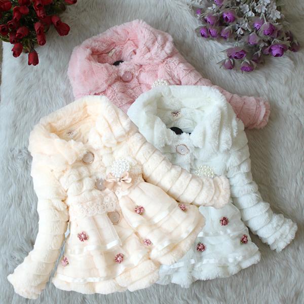 Baby Kids Girls Faux Fur Fleece Party Coat Winter Warm Jacket 1-5T Xmas Snowsuit XL251(China (Mainland))
