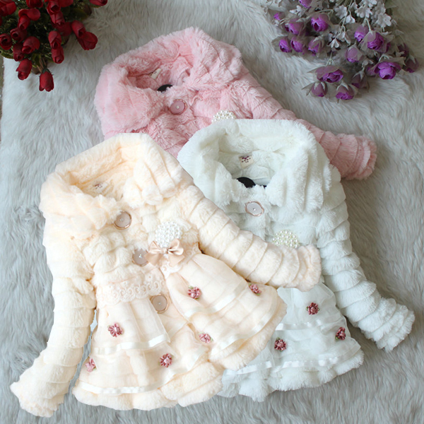 Baby Kids Girls Faux Fur Fleece Party Coat Winter Warm Jacket 1-5T Xmas Snowsuit XL251(China (Mainland))