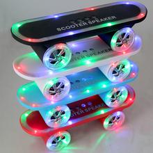 2015 New Christmas gift Skateboard Bluetooth Wireless caixa de som Mobile Audio Mini Portable Speakers with Led Light AD0080(China (Mainland))