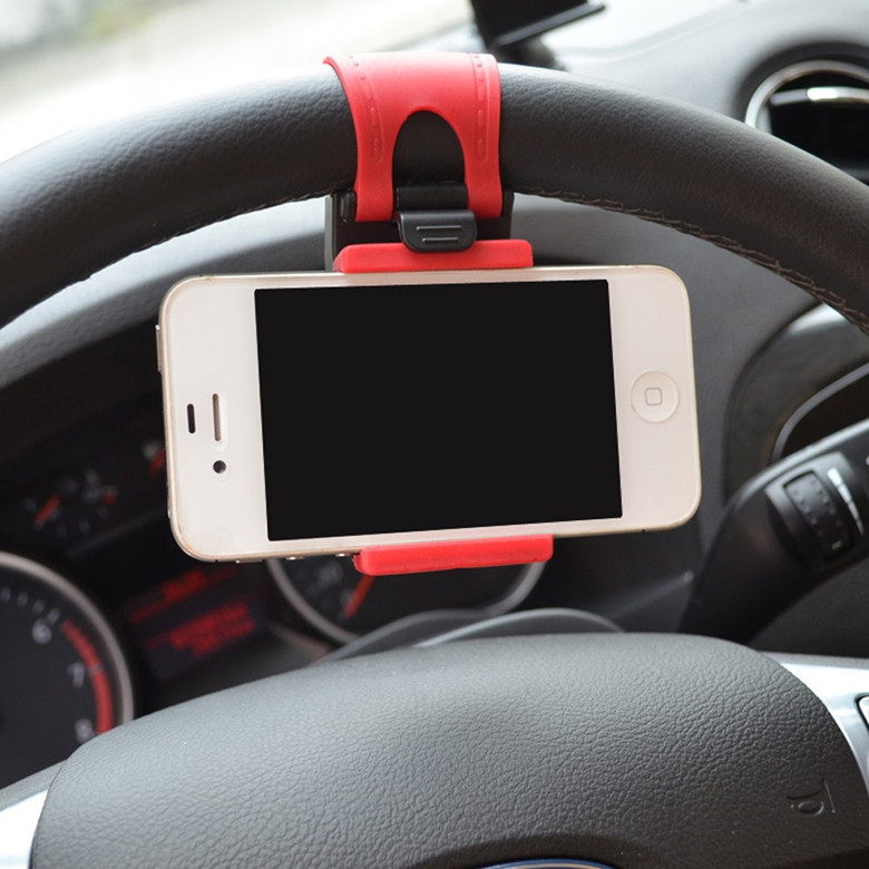Cheap Sale! Hot Universal Car Steering Wheel Mobile Phone Holder for iPhone 4S 5 5S 5C Galaxy S4 S5 GPS MP4 PDA Free Shipping(China (Mainland))