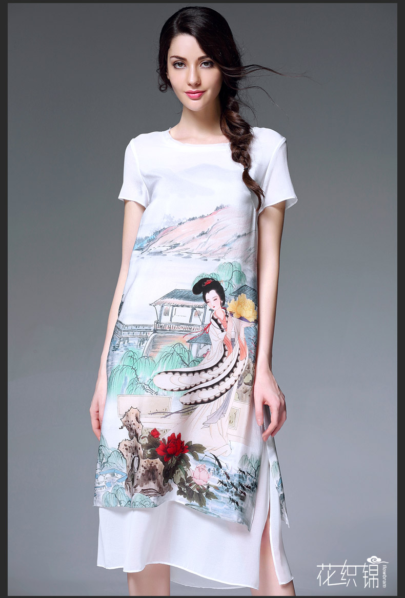 Free Shipping 2016 Summer Wear New Style Women 39 S Clothing Silk Print Dress Hot Sale A01757 In