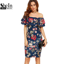 SheIn Summer Dress 2017 Clothes Women Short Sleeve Multicolor Floral Print Off The Shoulder Ruffle Sheath Dress(China (Mainland))