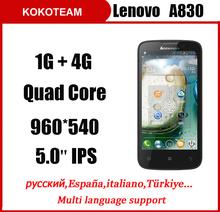 Original Lenovo A830 Quad core MTK6589 1G/4G 5.0inch 8.0MP Camera Multi language Andorid smartphone Black/White(China (Mainland))