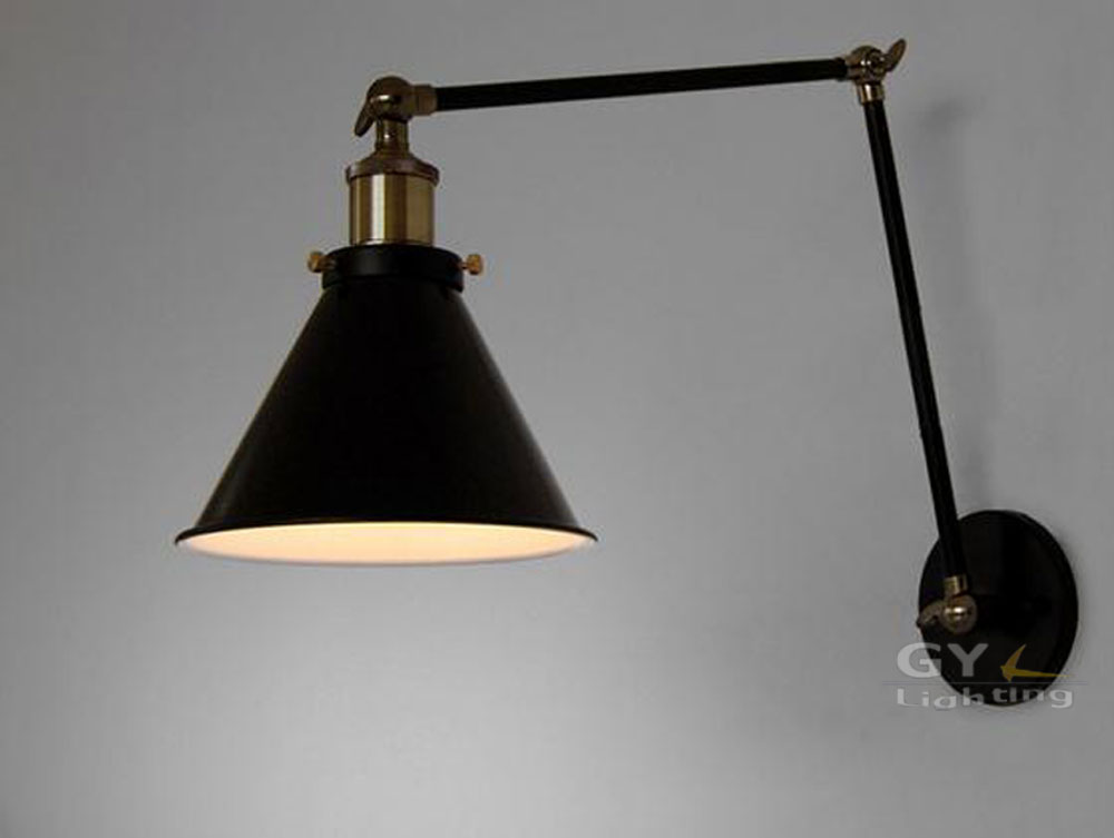 Wall Lamps With Reading Light : Aliexpress.com : Buy Art Deco Vintage Small Black Umbrella Lampshade Household Adjustable Wall ...