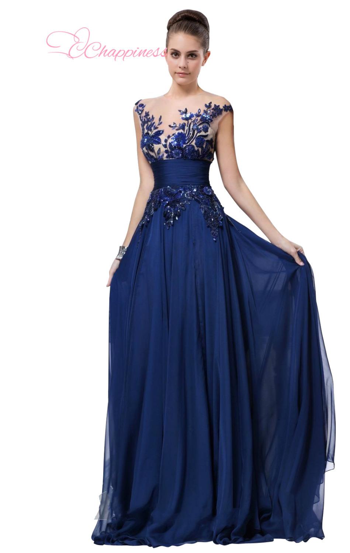 royal blue chiffon evening dress 2015 long dress appliques