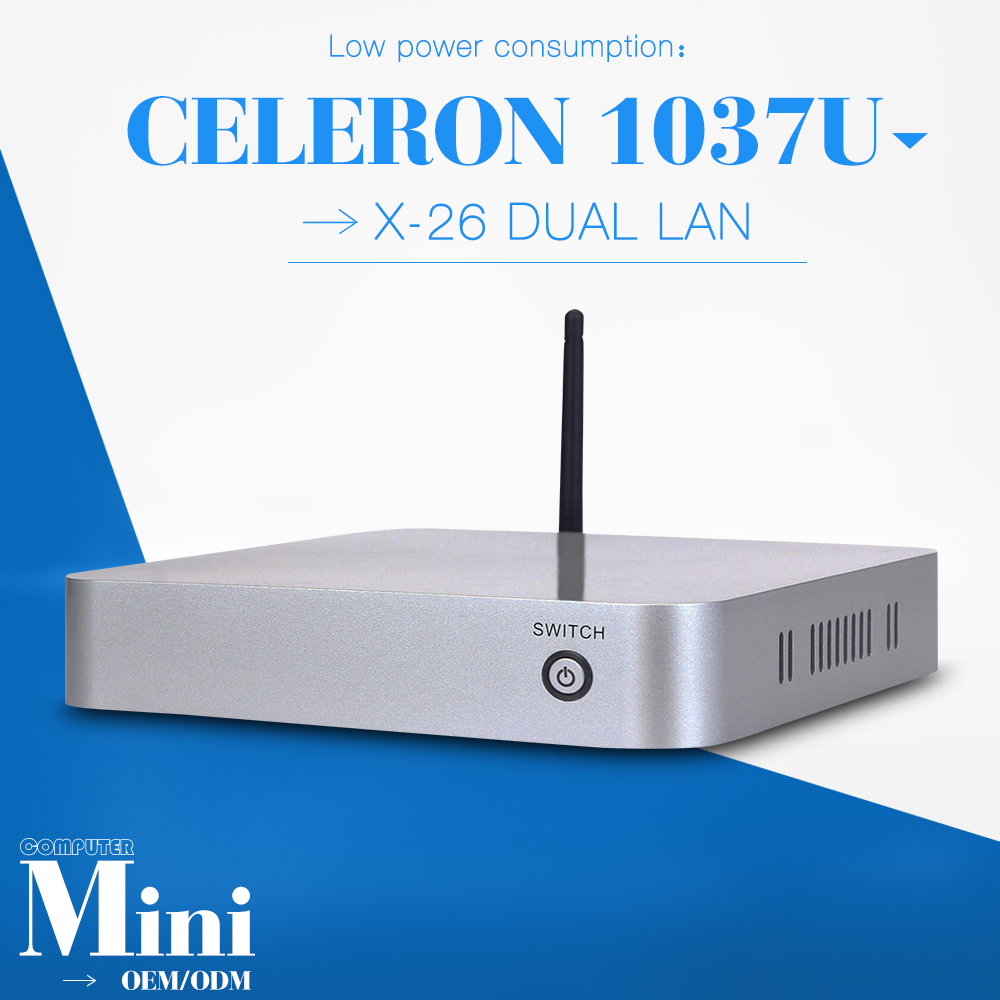 celeron C1037U 2 lan 2gb ram 128gb ssd with wifi desktop computer case fan terminal support HD video mini pc thin client(China (Mainland))