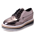 Patent Leather Women Oxfords 2016 Platform Shoes Woman Spring Creepers Autumn Flats Casual Lace Up Women
