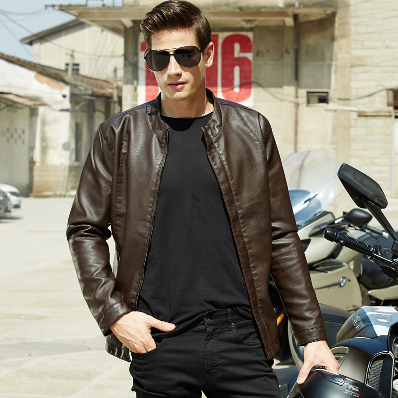 Mens Brown Leather Jackets Top Man 2015 New Autumn Solid Fashion Slim Fitted Mens Essentials Motorcycle Jacket Back Одежда и ак�е��уары<br><br><br>Aliexpress