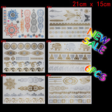 6 PCS/ lot temporary tattoo women gold tattoo flash tattoos transferable jewelry henna tatoo body art sex product stickers tatto(China (Mainland))