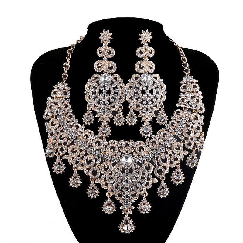 Silver jewelry sets bridal necklace earrings women wedding for Costume jewelry for evening gowns