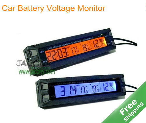 lcd car battery voltage monitor and inside outside temperature thermometer clock in tire. Black Bedroom Furniture Sets. Home Design Ideas