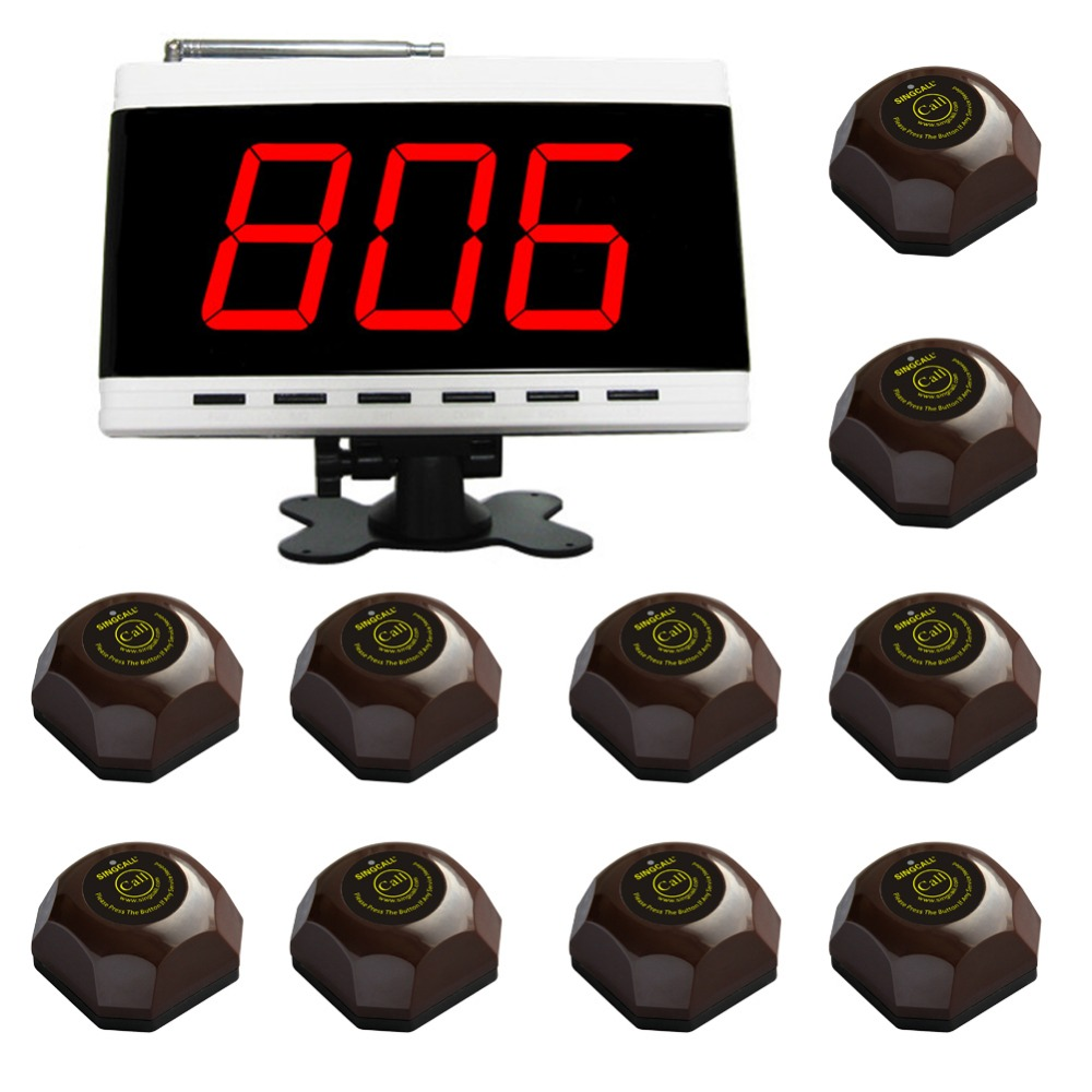 SINGCALL Wireless Calling System, table Call System, for Hospital. Restaurant Pack of 1 Pc White Display and 10 Pcs Table Bells.(China (Mainland))