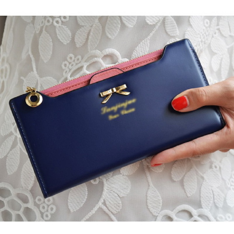 New 2015 Long Lady Women Purse Lovely Fashion Birthday Gift Pu Leather Zip Wallets And Purses(China (Mainland))