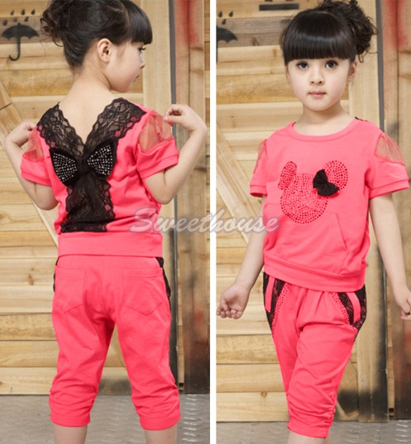 2015 Brand Summer Baby Girls Clothing Sets Children sweet Lace T shirt + Pants leisure Sport Suit set Kids Clothes Suits 34(China (Mainland))