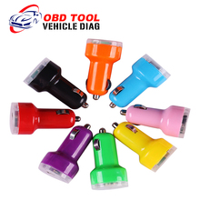 New Arrival Hot Sale Auto Universal Dual USB Car Charger For iPad IPhone 5V 2.1A Mini Adapter 8 Colors for Choice Free Shipping (China (Mainland))