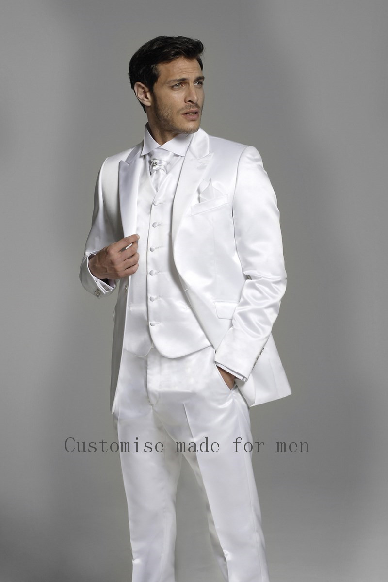 2016 new slim fit suit white peak lapel men suits wedding costume morning suits best man wedding. Black Bedroom Furniture Sets. Home Design Ideas
