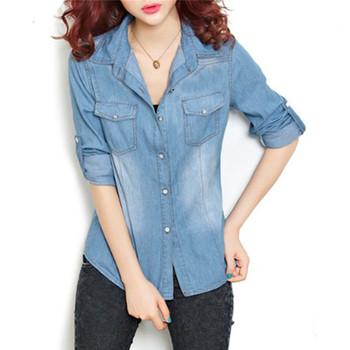 Женщины хлопок бойфренд нагрудные с длинными рукавами джинсовой жан рубашка верхней части кофточки