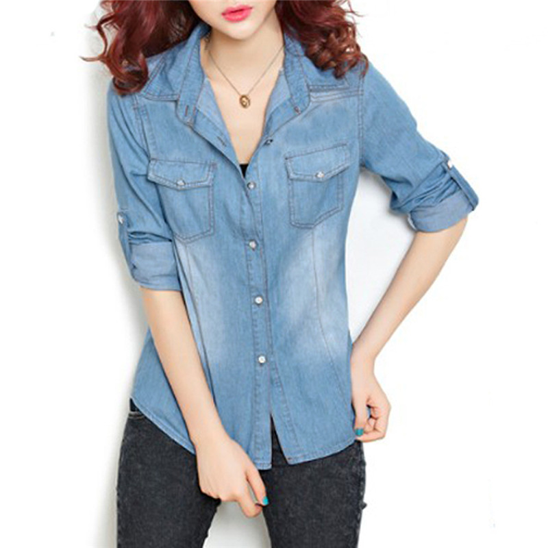 Denim jean long sleeve shirt for women for Blue denim shirt for womens