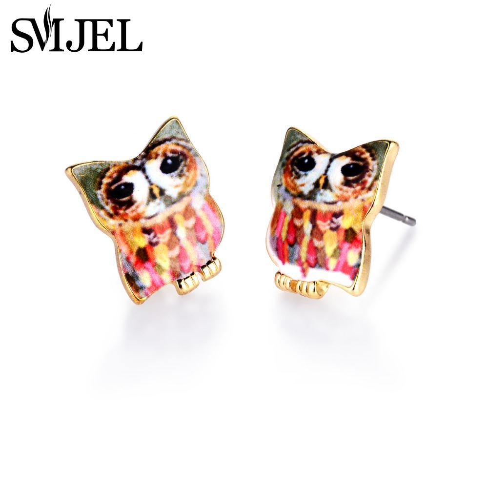 Halloween Colored Owl Stud Earrings in Enamel Post Jewelry Animal Pet Earrings for Women OED081(China (Mainland))