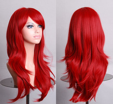 Harajuku Cosplay Wig Red High quality 70CM Curly Wave Hair Long Synthetic hair pad Perruque peluca  peruca femininas(China (Mainland))