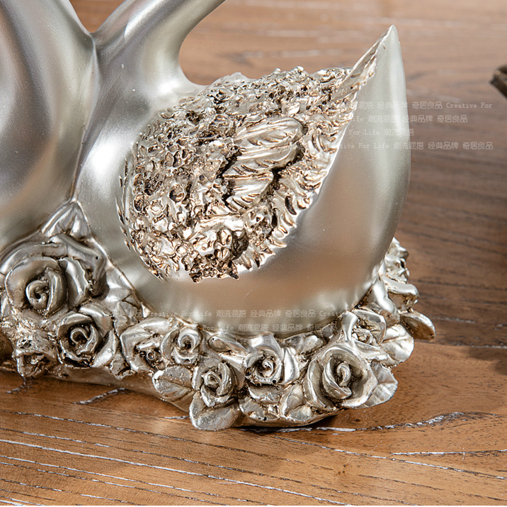 one pair home decor wedding gift swan couples resin furnishing articles - Home Decor Articles
