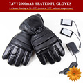 7 4V Winter Heated PU Gloves Outdoor Ski Snowboard Motorcycle Lithium Battery Heating 5 Fingers Hand