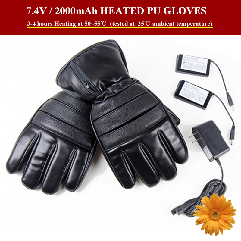 7.4V Winter Heated PU Gloves Outdoor Ski Snowboard Motorcycle Lithium Battery Heating 5 Fingers Hand Back Electric Warming Glove(China (Mainland))