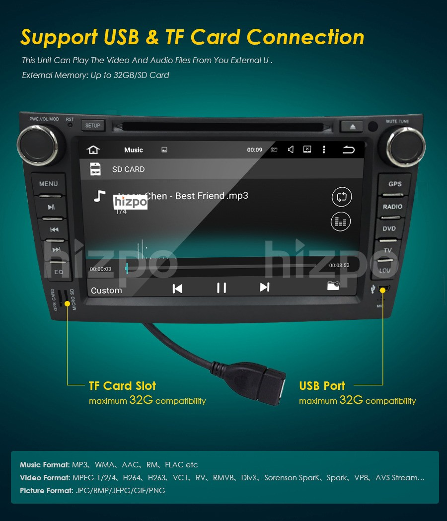 """8"""" Android 5.1 OS CAR DVD Player for Toyota Corolla 2006-2011 GPS Nav Radio Stereo Bluetooth Wifi 3G Gift 8GB GPS Card and Map"""