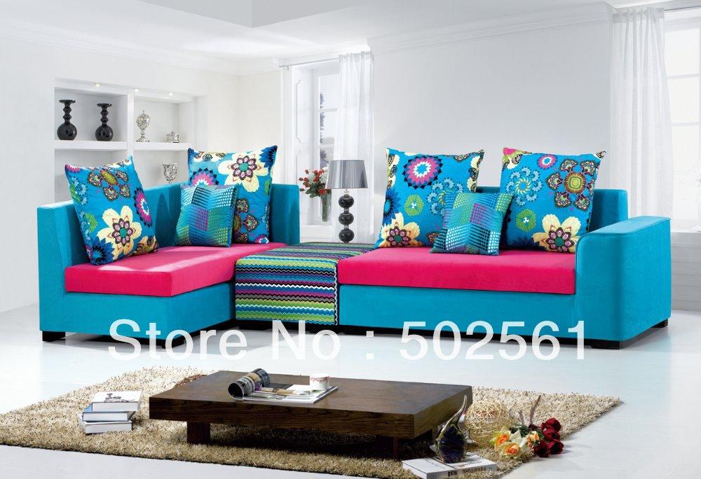 2014 new modern comfortable fabric corner sofa sectional leisure living room furniture ottoman garden floral(China (Mainland))