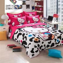 BEST.WENSD Luxury 3d Bedding Cotton hello kitty 3/4pc bed sheet duvet cover sets super king queen full kids Cartoon bedclothes(China)