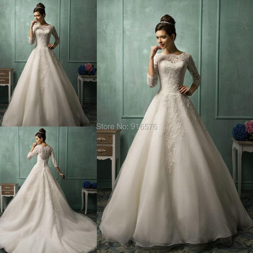 Buy 2015 wedding dresses a line sheer 3 4 for Long sleeve sheer wedding dresses