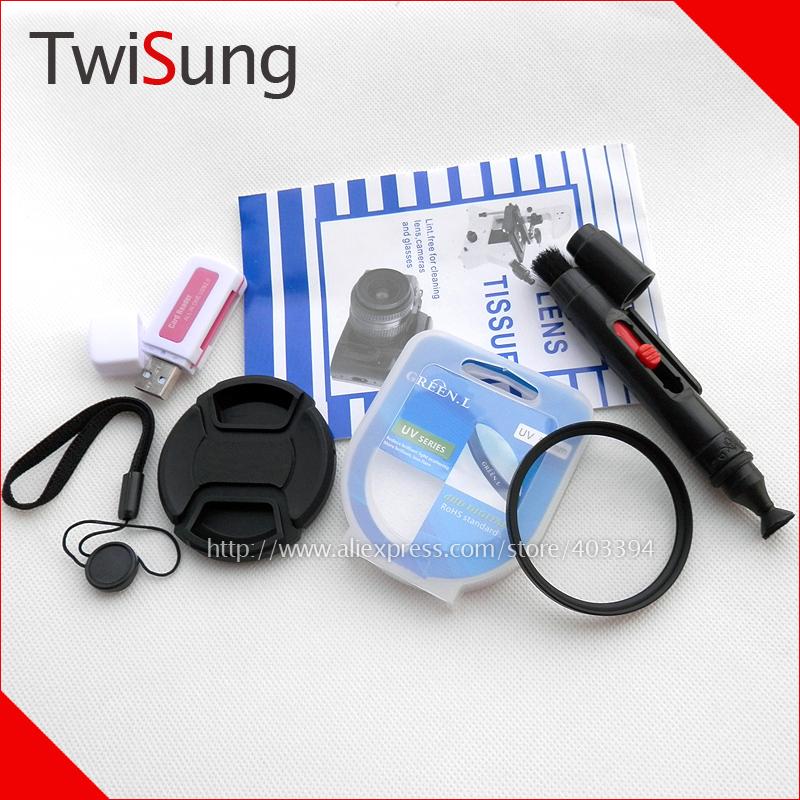 55mm Lens Cap with Strap + 55 mm Multi Coated MC UV Filter + Lens Pen + Lens Tissue + SD Memory Card Reader for SLR DSLR Cameras(China (Mainland))