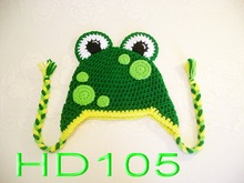 free shipping,200piece/lot  Super cute baby handmade crochet frog hat Photography Photo prop 100% cotton baby Cartoon animal hat(China (Mainland))