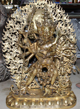 "31"" Tibet Bronze 3 Head 8 Arms Vajrayogini Vajravarahi Buddha Ganesha Statue  (China (Mainland))"