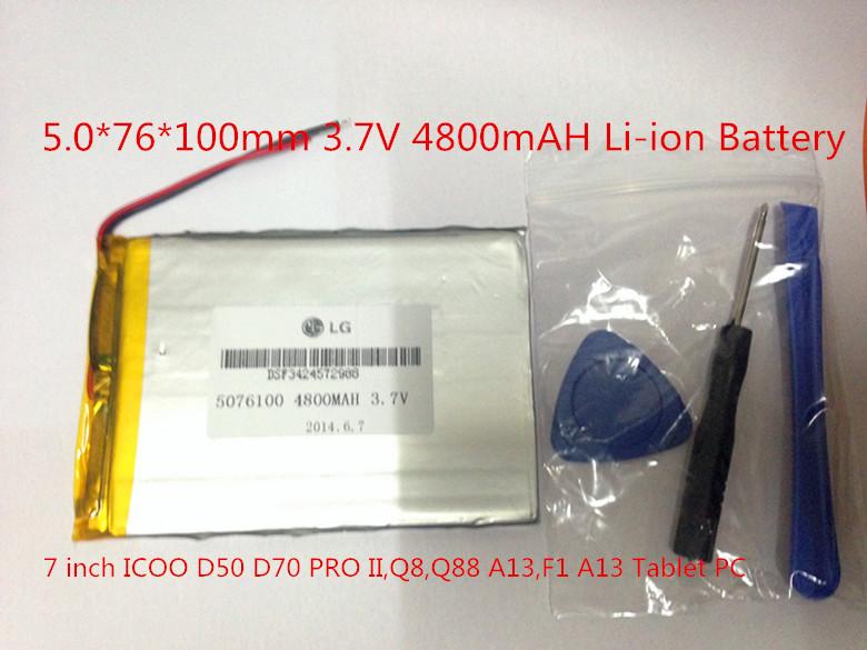Гаджет  5.0*76*100mm 3.7V 4800mAH Li-ion Battery for 7 inch ICOO D50 D70 PRO II,Q8,Q88 A13,F1 A13 Tablet PC  Free shipping None Компьютер & сеть