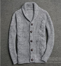 Mens Cardigan Sweater 2015 Autumn Winter New Fashion Shawl Collar Cable Knit Wool Cardigan Free Shipping