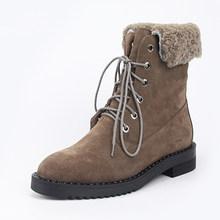 2019 frauen Winter Schuhe Warme Stiefeletten Natürliche Kuh Wildleder Weibliche Schuhe Schnee Stiefel(China)