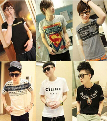 21 color round collar 2016 new o neck Fashion t shirt male t shirts men short