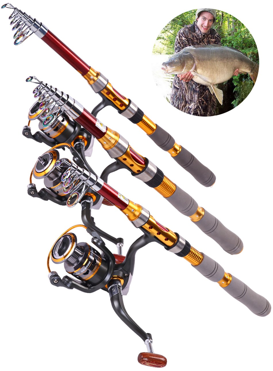 Telescopic spinning casting fishing rod and reel combo set for Saltwater fly fishing combo