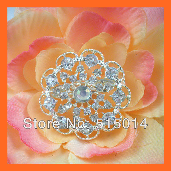 Free Shipping ! 100pcs/lot 35mm Flower Rhinestone Cluster With Pin For invitation Cards,Rhinestone Brooches(China (Mainland))