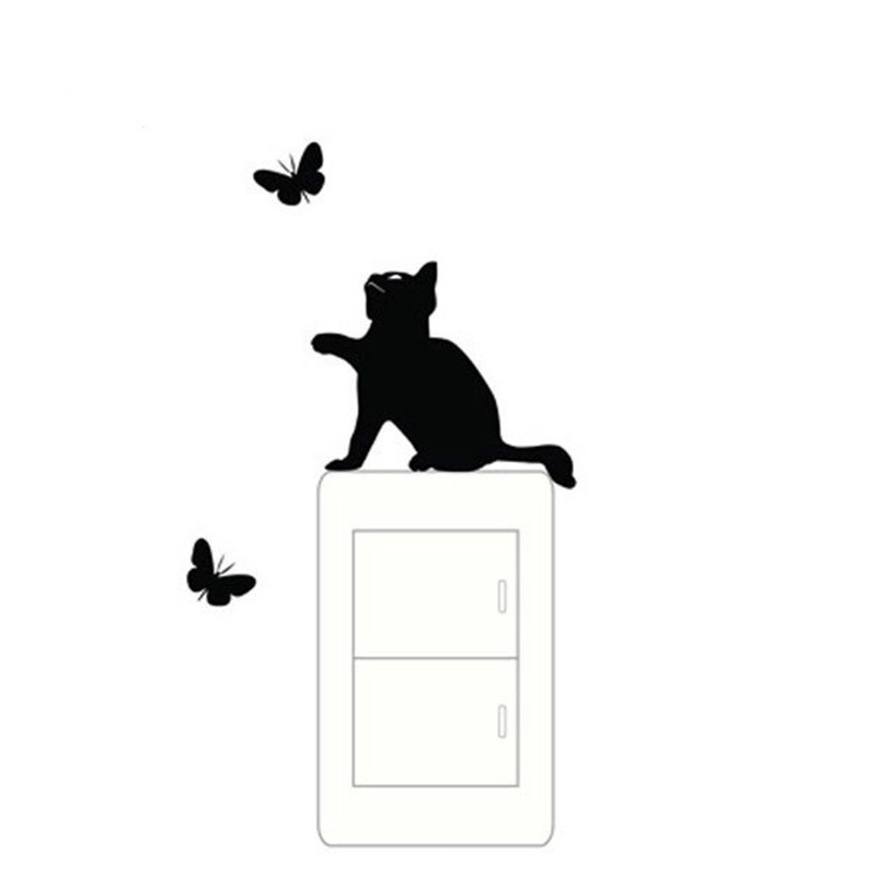 cheap cats with butterfly wall sticker for home Decor(China (Mainland))