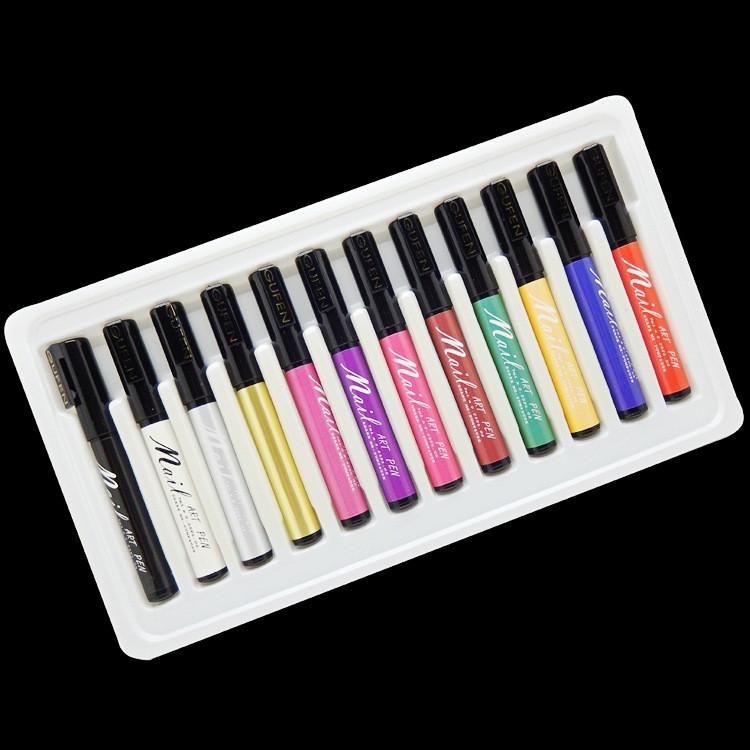 12 Colors Professional 3D Nail Art Paint Drawing Pen Acrylic Nail Art Polish Carved Pen Kit Set DIY tools(China (Mainland))