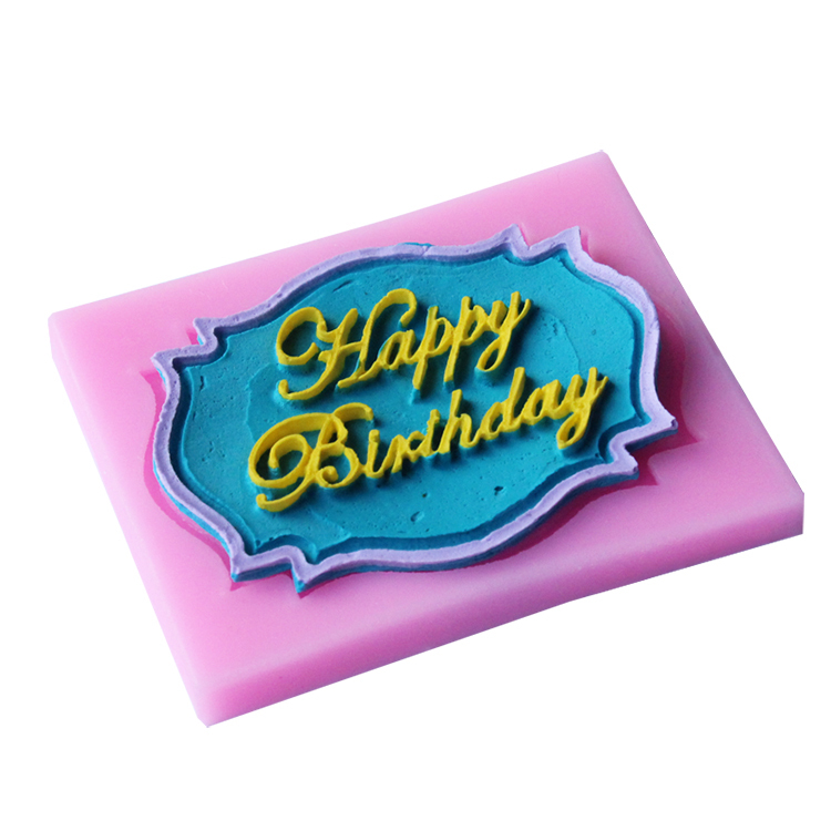 1PCS Happy Birthday Shape Silicone Lace Mold Cake Tools, Fondant Bakeware Decorating, Candy, Cookie, Jelly Tools D121(China (Mainland))