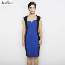 New Fashion Noble Optical Illusion Color Block Square Collar Sleeveless Knee-length Slim Show Chest Party Pencil Dresses(China (Mainland))